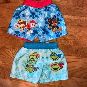 6/9 month paw patrol ninja turtle swim trunks